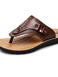 voordelige -Heren Comfort schoenen Leer Zomer Slippers & Flip-Flops Zwart / Lichtbruin / Donker Bruin
