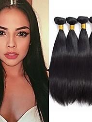 Недорогие -4 Связки Перуанские волосы Прямой 100% Remy Hair Weave Bundles Человека ткет Волосы Пучок волос Накладки из натуральных волос 8-28 дюймовый Естественный цвет Ткет человеческих волос