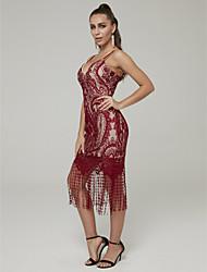 povoljno -Kroj uz tijelo Tanke naramenice Do koljena Čipka Koktel zabava Haljina s Čipkasti umetak po TS Couture®