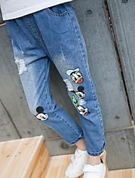 billige -Barn Jente Grunnleggende Ensfarget Polyester Jeans Blå