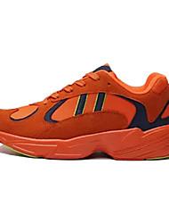 baratos -Homens Sapatos Confortáveis Couro Ecológico Primavera Casual Tênis Corrida Respirável Preto / Laranja / Vermelho