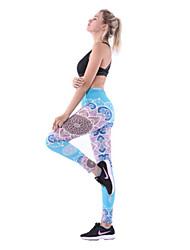 abordables -Femme Pantalon de yoga Bleu Des sports 3D Print Elasthanne Collants Course / Running Fitness Entraînement de gym Tenues de Sport Séchage rapide Doux Contrôle du Ventre Power Flex Haute élasticité Slim
