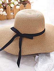 Недорогие -Жен. Активный Классический Симпатичные Стиль Соломенная шляпа Шляпа от солнца Солома,Однотонный Все сезоны Белый Бежевый Хаки
