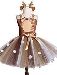 Χαμηλού Κόστους -Παιδιά / Νήπιο Κοριτσίστικα Γλυκός / χαριτωμένο στυλ Ουράνιο Τόξο Δίχτυ Αμάνικο Ως το Γόνατο Spandex Φόρεμα