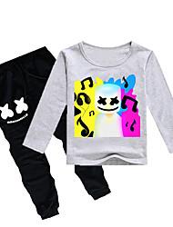 abordables -Enfants Garçon Actif / Basique Imprimé Manches Longues Coton / Spandex Ensemble de Vêtements Violet