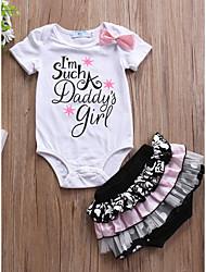 hesapli -Bebek Genç Kız Temel Desen Desen Kısa Kollu Uzun Normal Pamuklu / Polyester Kıyafet Seti Beyaz