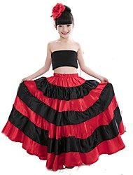 levne -Latinské tance Spodní část oděvu / Flamenco Dívčí Výkon Matný satén Klín Přírodní Sukně