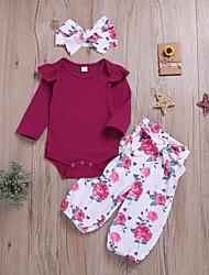 hesapli -Bebek Genç Kız Temel / Sokak Şıklığı Solid / Desen Desen Uzun Kollu Normal Normal Pamuklu Kıyafet Seti Fuşya