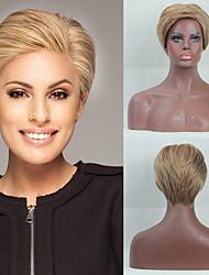 billige -Human Hair Capless Parykker Menneskehår Naturligt, bølget hår / Naturlig lige Pixie frisure / Frisure i lag / Assymetrisk frisure Moderigtigt Design / Justerbar / Varme resistent Brun Kort Lågløs