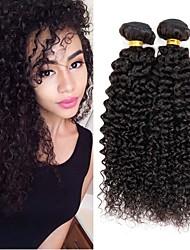 billige -4 pakker Brasiliansk hår Kinky Curly Remy Menneskehår Menneskehår, Bølget Bundle Hair Én Pack Solution 8-28inch Naturlig Farve Menneskehår Vævninger Simple Lugtfri Moderigtigt Design Menneskehår
