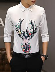 levne -Pánské - Jednobarevné / Grafika Košile Bílá L