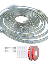 billige -KWB 10 m Fleksible LED-lysstriber 600 lysdioder SMD5050 1Sæt monteringsbeslag Varm hvid / Hvid / Rød Vandtæt / Chippable / Dekorativ 220-240 V 1set