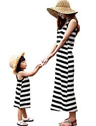 お買い得  -ママと私 活発的 / ベーシック ストライプ / カラーブロック パッチワーク ノースリーブ レギュラー レギュラー ミディ コットン / ポリエステル ドレス ブラック