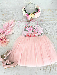 Χαμηλού Κόστους -Παιδιά Κοριτσίστικα Γλυκός / Κινεζικό στυλ Κινούμενα σχέδια Εξώπλατο / Φιόγκος / Με Κορδόνια Αμάνικο Βαμβάκι Φόρεμα Ανθισμένο Ροζ