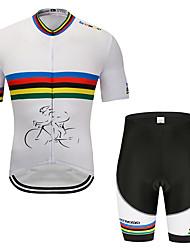 お買い得  -MUBODO 男性用 半袖 ショーツ付きサイクリングジャージー ブラック / ホワイト バイク スーツウェア 高通気性 速乾性 反射性ストリップ スポーツ メッシュ マウンテンサイクリング ロードバイク 衣類 / 伸縮性あり