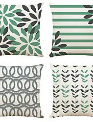 hesapli -4 set basit geometrik keten kare dekoratif atmak yastık kılıfları kanepe yastık kapakları 18x18