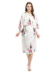 cheap -Women's Satin & Silk Nightwear - Split / Print Floral / Rainbow