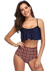 voordelige -Dames Standaard blauw Bandeau Boy Leg Bikini Zwemkleding - Effen Blokken Blote rug M L XL blauw