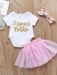 billige -Baby Pige Aktiv / Basale Trykt mønster Trykt mønster Kortærmet Normal Bomuld Tøjsæt Hvid