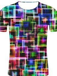 Недорогие -Муж. С принтом Большие размеры - Футболка Хлопок, Круглый вырез Камни / преувеличены Горошек / 3D / Графика Цвет радуги