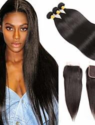 저렴한 -3 개 묶음 브라질리언 헤어 직진 버진 헤어 인간의 머리 직조 번들 헤어 한 팩 솔루션 8-28 inch 자연 색상 인간의 머리 되죠 오더 프리 창조적 흑인여성 제품 인간의 머리카락 확장 여성용