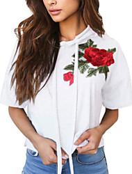 levne -Dámské - Květinový Základní Tričko, Výšivka Bílá M
