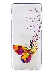halpa -Etui Käyttötarkoitus Samsung Galaxy Galaxy S10 Plus / Galaxy S10 E Läpinäkyvä / Kuvio Takakuori Perhonen Pehmeä TPU varten S9 / S9 Plus / S8 Plus