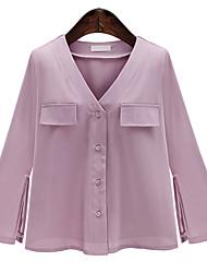 levne -Dámské - Jednobarevné Šik ven / Elegantní Košile Bílá M