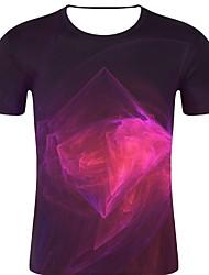 お買い得  -男性用 プリント Tシャツ ロック / 誇張された 3D / 虹色 / グラフィック フクシャ XXL