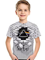 abordables -Enfants / Bébé Garçon Actif / Basique Géométrique Imprimé Manches Courtes Polyester / Spandex Tee-shirts Gris Clair