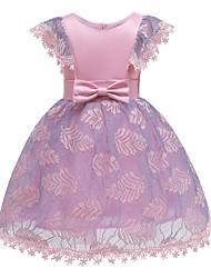 お買い得  -子供 / 幼児 女の子 ヴィンテージ / 甘い ソリッド 半袖 膝丈 ドレス ピンク