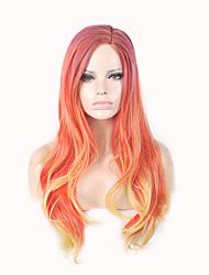 abordables -Perruque Synthétique Ondulation naturelle Avril Style Partie latérale Sans bonnet Perruque A Ombre Orange Cheveux Synthétiques 24inch Femme Classique / Synthétique / Grosses soldes A Ombre Perruque