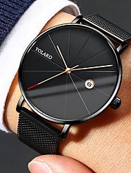 Недорогие -Муж. Нарядные часы Кварцевый Нержавеющая сталь Черный / Серебристый металл 30 m Защита от влаги Календарь Повседневные часы Аналоговый На каждый день Мода Простые часы - / Один год