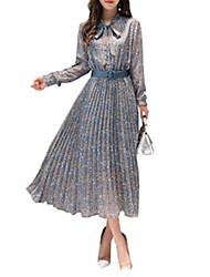 billige -kvinners knelang chiffong kjole chiffon blå s m l xl