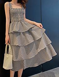 hesapli -Kadın diz boyu vardiya elbise askısı siyah sarı bir boyut