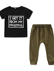 levne -Dítě Chlapecké Aktivní / Základní Tisk Tisk Krátký rukáv Standardní Bavlna / Spandex Sady oblečení Černá