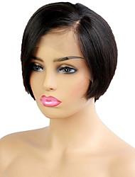 저렴한 -인모 전면 레이스 가발 사이드 파트 스타일 말레시아인 헤어 직진 블랙 가발 130 % Haardichte 여성 블랙 여성용 짧음 기타 Clytie