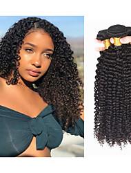 Недорогие -4 Связки Бразильские волосы Kinky Curly человеческие волосы Remy Человека ткет Волосы Пучок волос Накладки из натуральных волос 8-28inch Естественный цвет Ткет человеческих волос Подарок Толстые 100