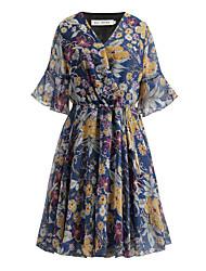 billige -kvinner over kneet løs en linje kjole v nakke chiffon hvit marineblå s m l xl