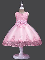 levne -Princess Midi Šaty pro květinovou družičku - Krajka / Tyl Bez rukávů Klenot s Okvětní lístky / Aplikace / Výšivka podle LAN TING Express
