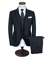 preiswerte -Kariert Reguläre Passform Baumwolle Anzug - Fallendes Revers Einreiher - 1 Knopf