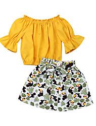 abordables -Enfants / Bébé Fille Actif / Bohème Couleur Pleine / Fleur / Imprimé Noeud / Imprimé Demi Manches Normal Coton Ensemble de Vêtements Jaune