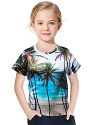 abordables -Enfants / Bébé Fille Actif / Bohème Géométrique / Imprimé Imprimé Manches Courtes Polyester / Spandex Tee-shirts Bleu clair
