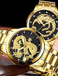 Недорогие -Для пары Нарядные часы Кварцевый Нержавеющая сталь Золотистый 30 m Защита от влаги Повседневные часы Cool Аналоговый Роскошь Мода - Золотой Белый Черный Один год Срок службы батареи