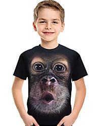 abordables -Enfants / Bébé Garçon Actif / Basique Imprimé / Bloc de Couleur Imprimé Manches Courtes Polyester / Spandex Tee-shirts Noir