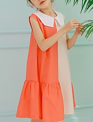 お買い得  -子供 女の子 カラーブロック ドレス ブルー