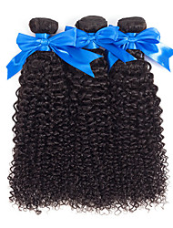 abordables -3 paquetes Cabello Brasileño Kinky Curly Pelo Natural Sin Procesar Paquetes 100% Remy Hair Weave Tocados Cabello Bundle Extensiones Naturales 8-28 pulgada Color natural Cabello humano teje Libre de