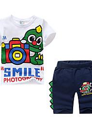 billige -Børn Drenge Basale Tegneserie Trykt mønster Kortærmet Normal Normal Bomuld / Spandex Tøjsæt Hvid