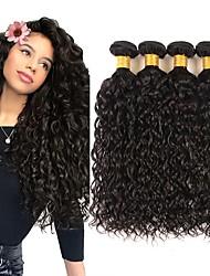 billige -4 pakker Brasiliansk hår Vand Bølge Jomfruhår Menneskehår, Bølget Udvidelse Bundle Hair 8-28 inch Naturlig Farve Menneskehår Vævninger Lugtfri Mode Tyk Menneskehår Extensions Dame / ubehandlet