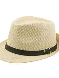 Недорогие -Муж. Активный В стиле 1930-х Соломенная шляпа Лён Солома,Однотонный Лето Коричневый Черный Бежевый